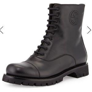 Gucci Combat Moto Leather Boot Laceup/Zipper
